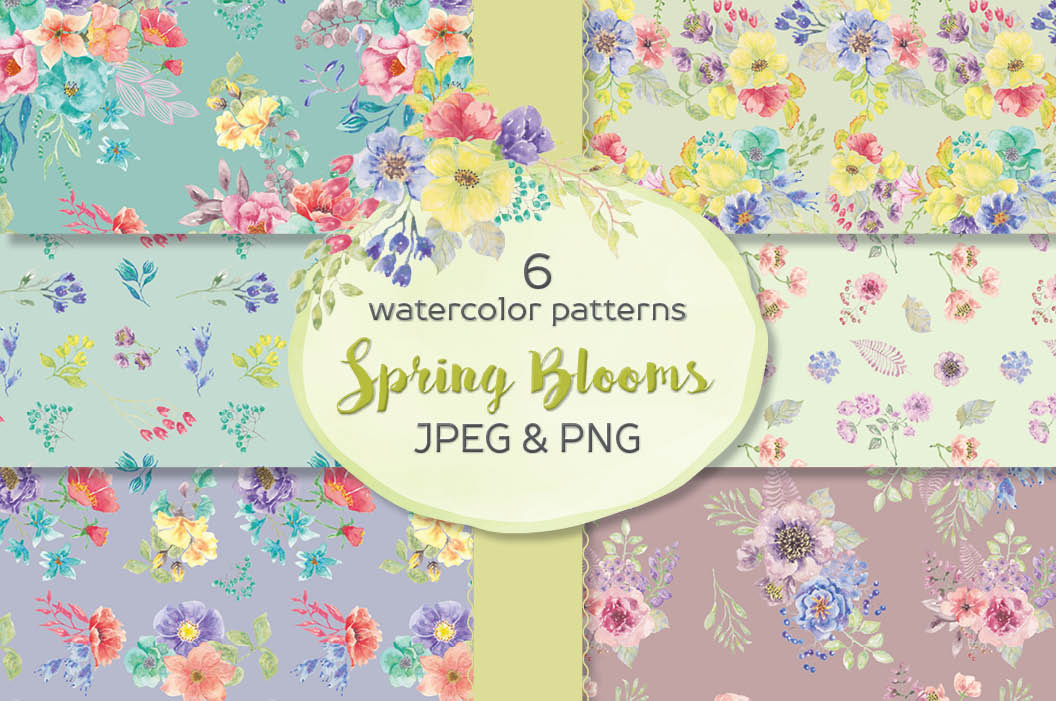 6 watercolor patterns: 'Spring Blooms' example image 1