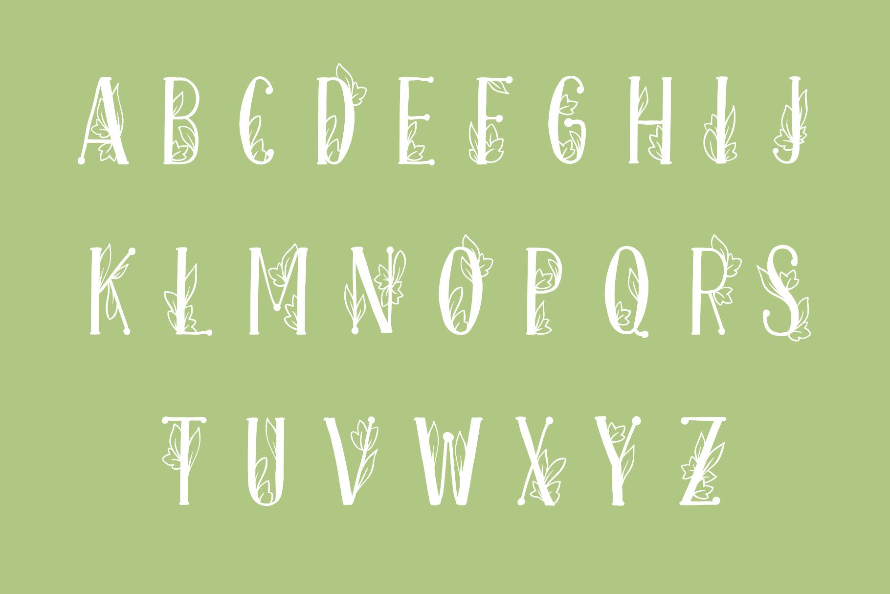 Onferia - decorative leaf font example image 2