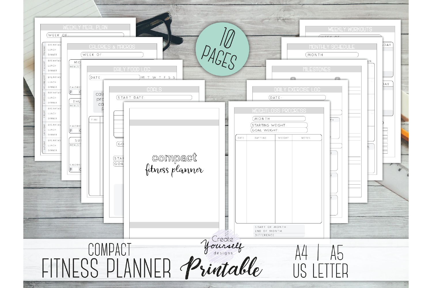 photo regarding Fitness Planner Printable known as Health planner printable - healthy magazine, fat decline tracker