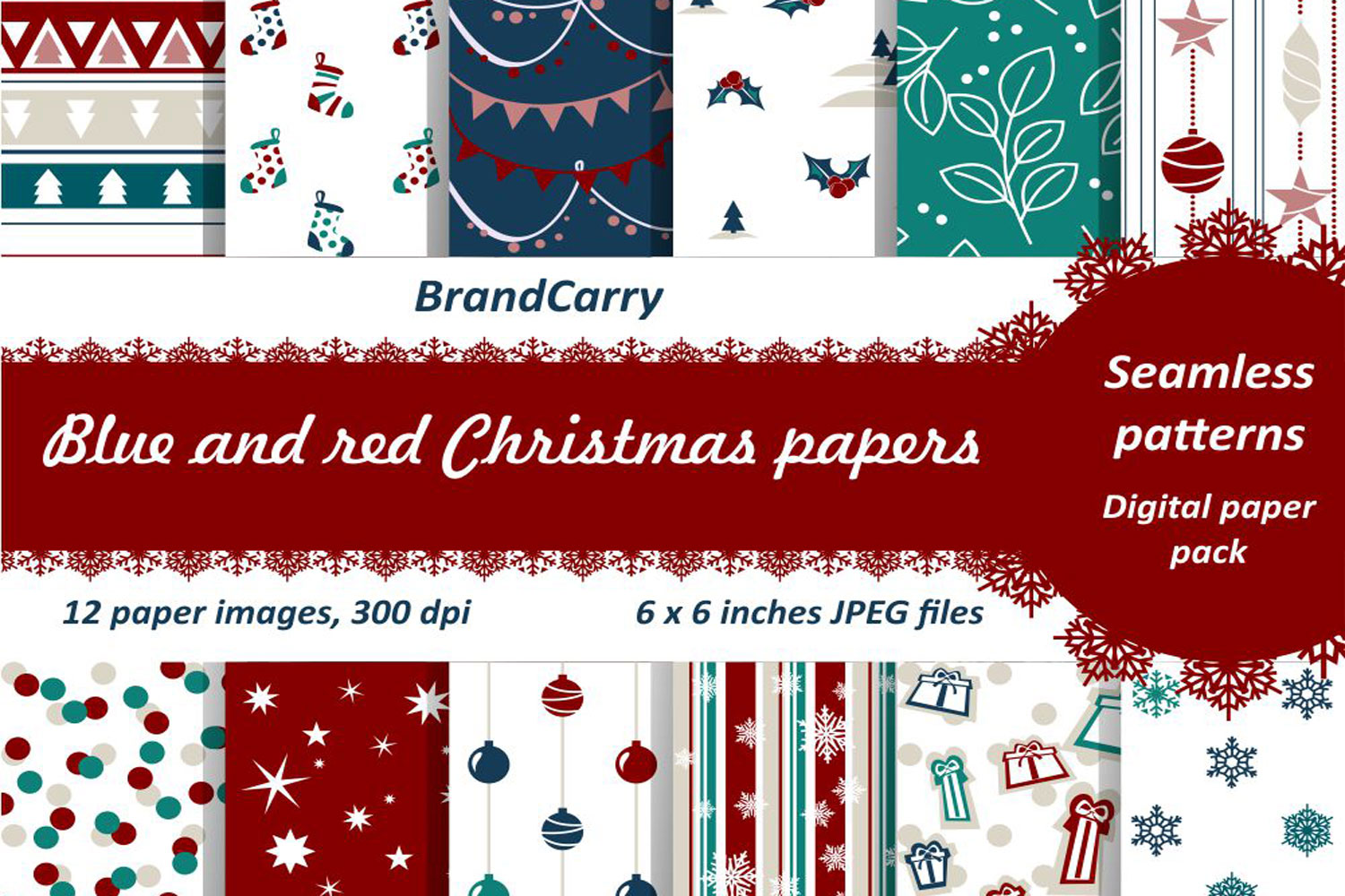 Christmas Digital Papers example image 1