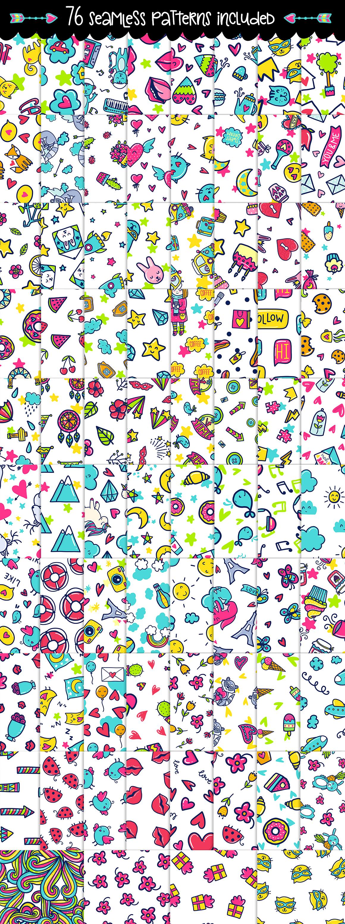 700 Doodles & Patterns - Clipart Set example image 4