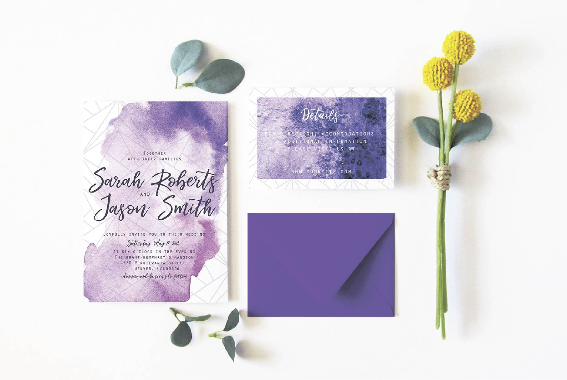 Ultra violet wedding invitation suit example image 3