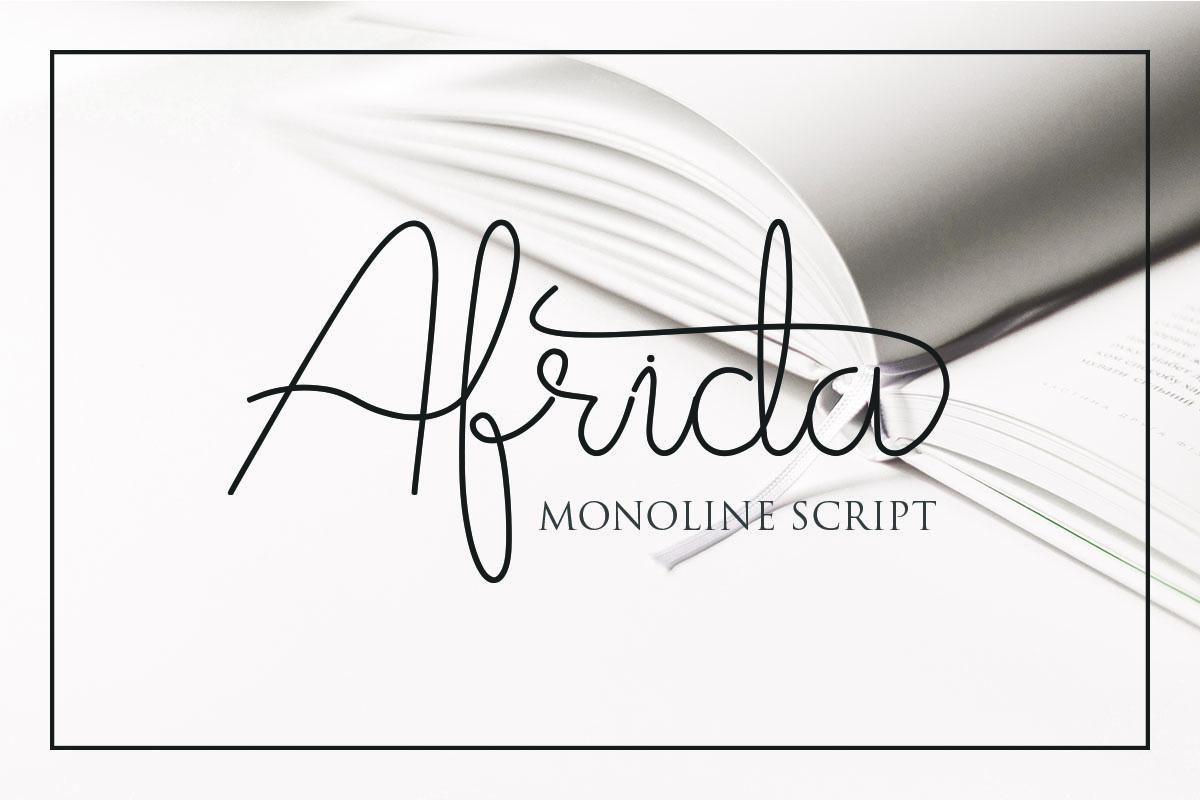 Afrida monoline script font example image 1