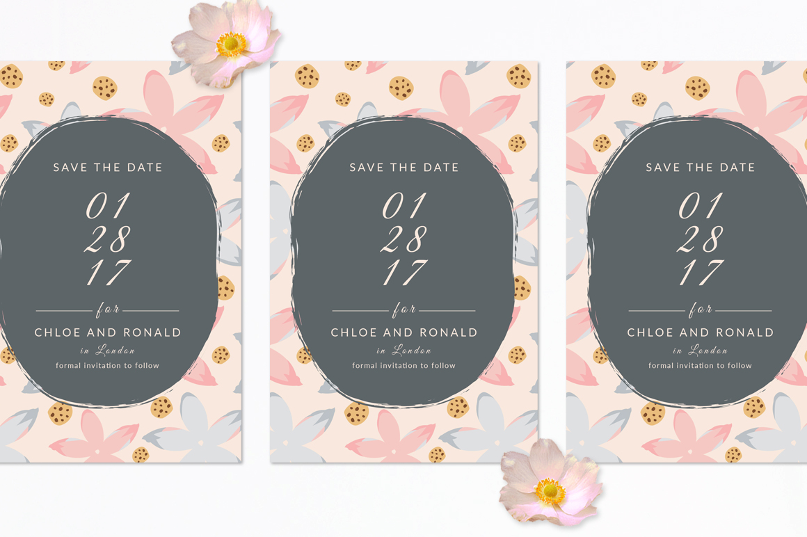 Modern Floral Wedding Invitation Set example image 4