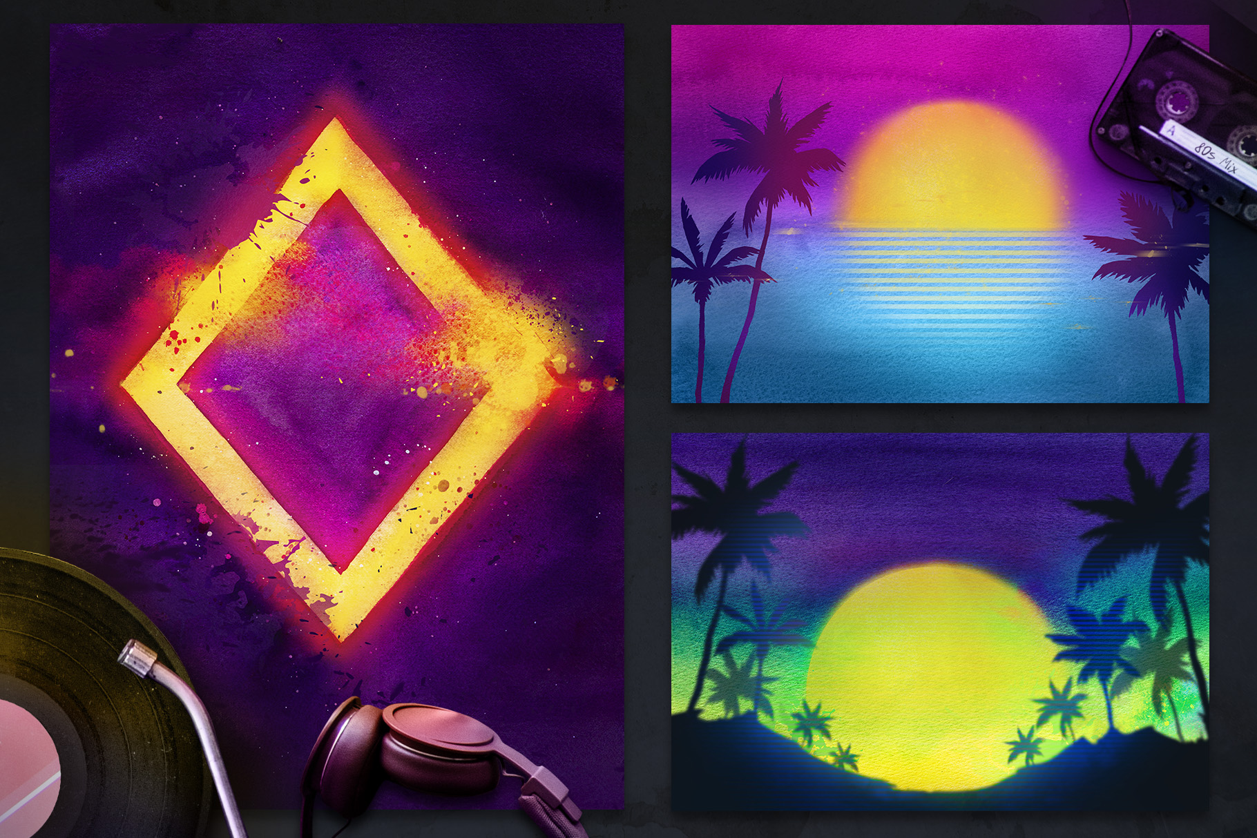 80s Retro Watercolor backgrounds. example image 3