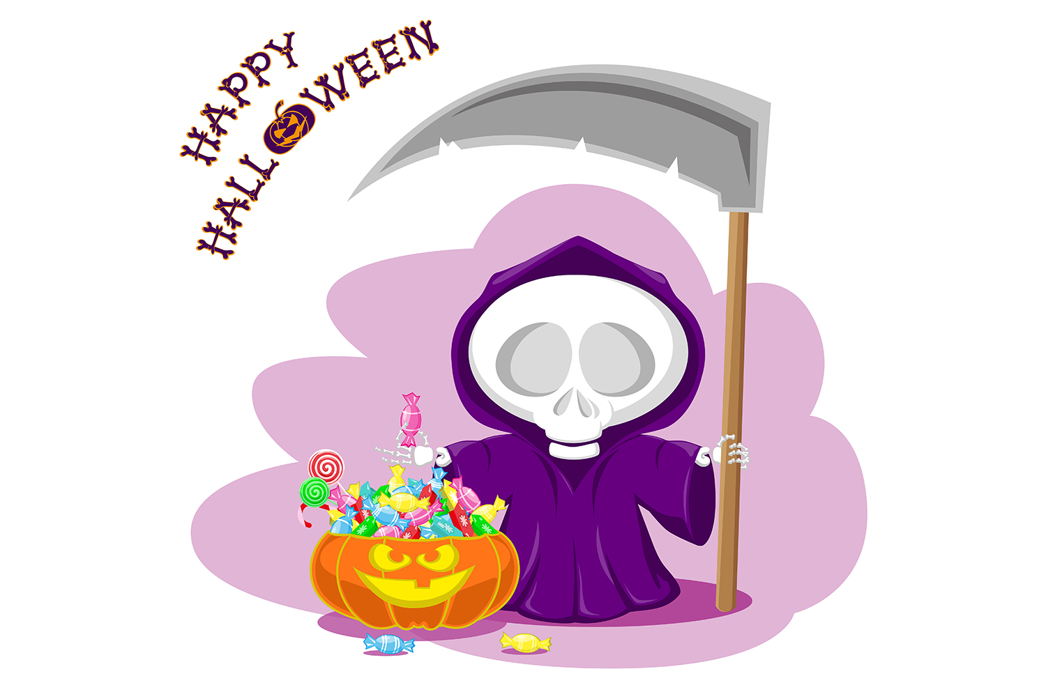 Set of 12 figure funny little death with large scythe and halloween pumpkin. Vector illustration example image 12