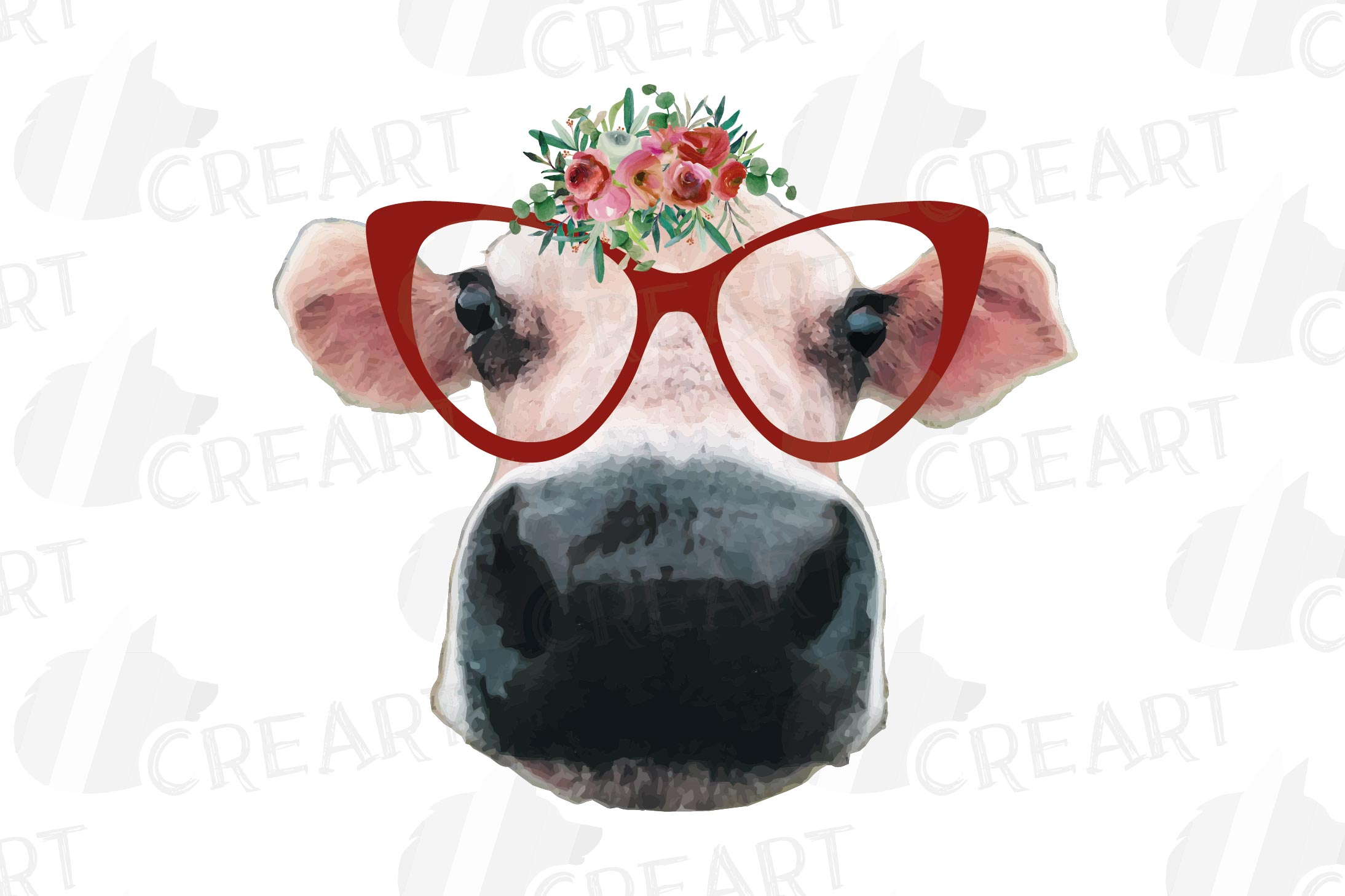 Cows with floral crown clip art. Not today heifer graphic example image 3