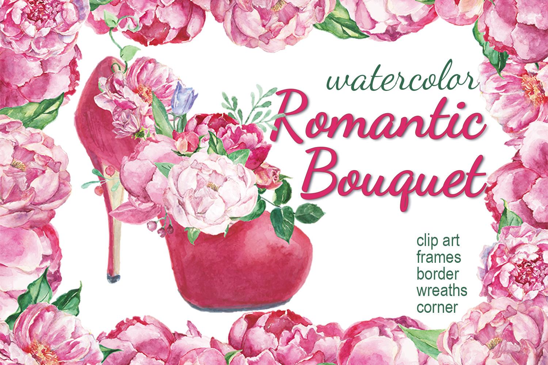 Watercolor Romantic Bouquet clip art example image 1