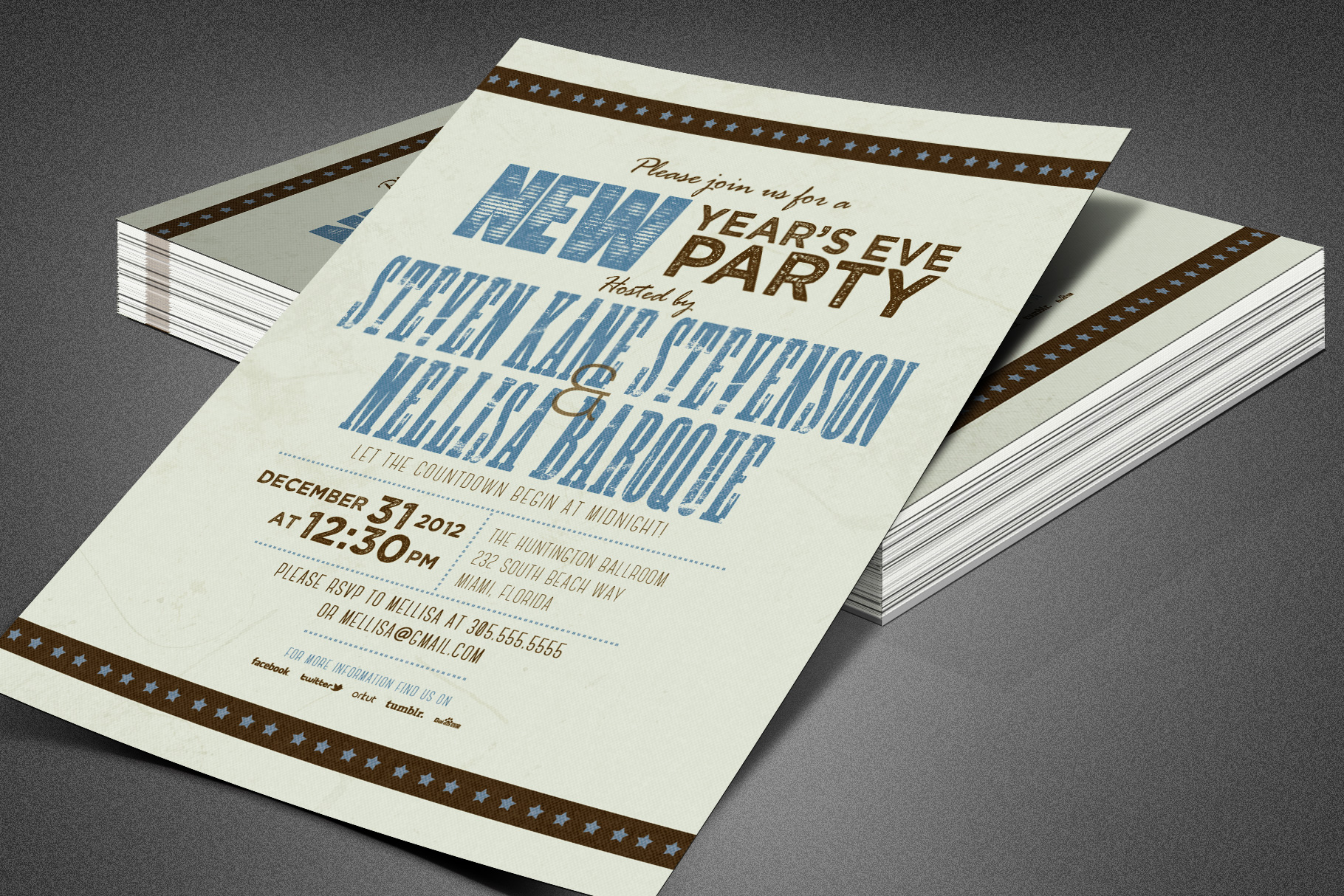 Retro New Year Party Invite Card Template example image 5