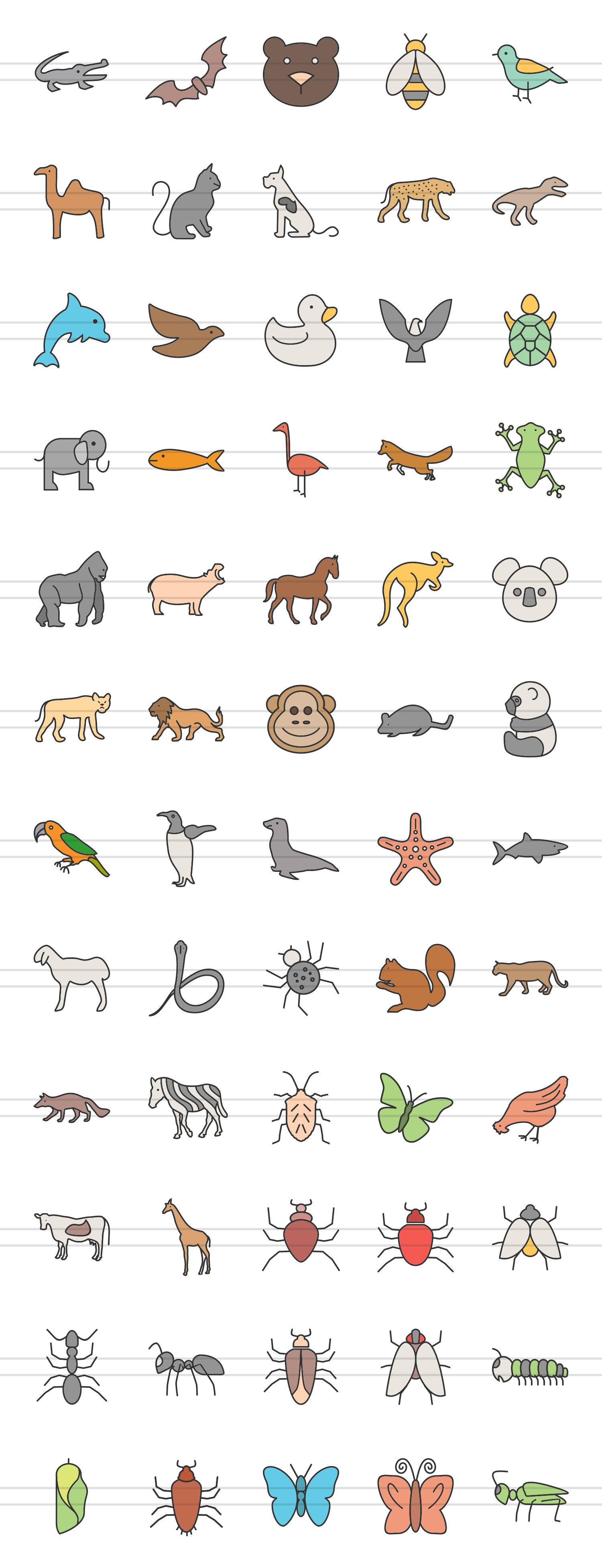 60 Animals & Insects Linear Multicolor Icons example image 2