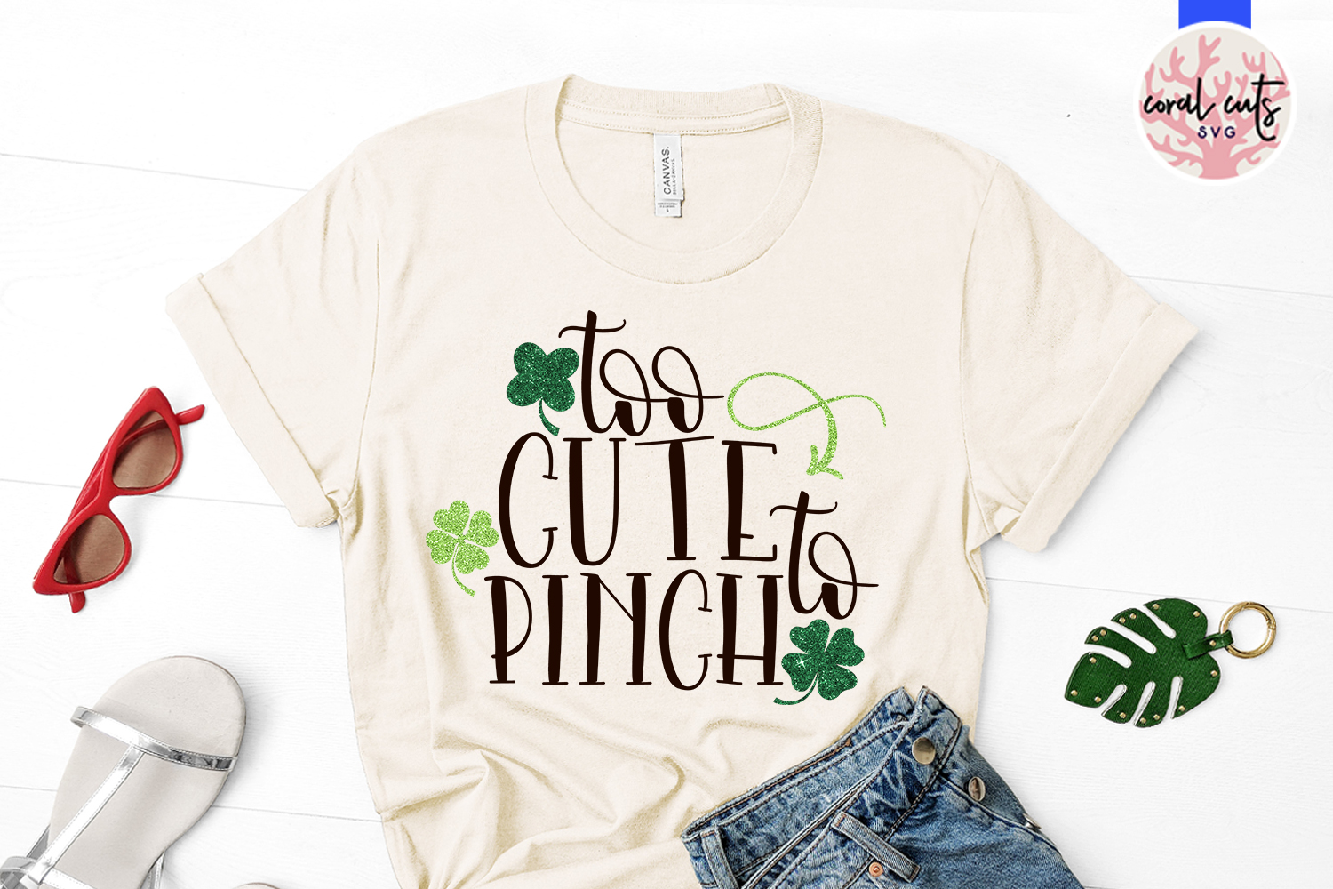 Too cute to pinch - St. Patrick's Day SVG EPS DXF PNG example image 2