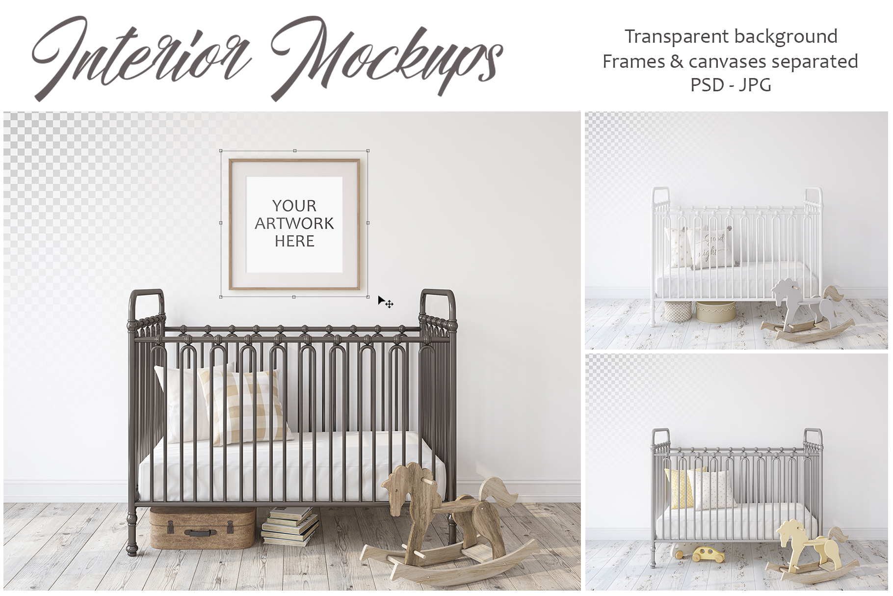 Metal crib. Wall&Frames Mockup. example image 1