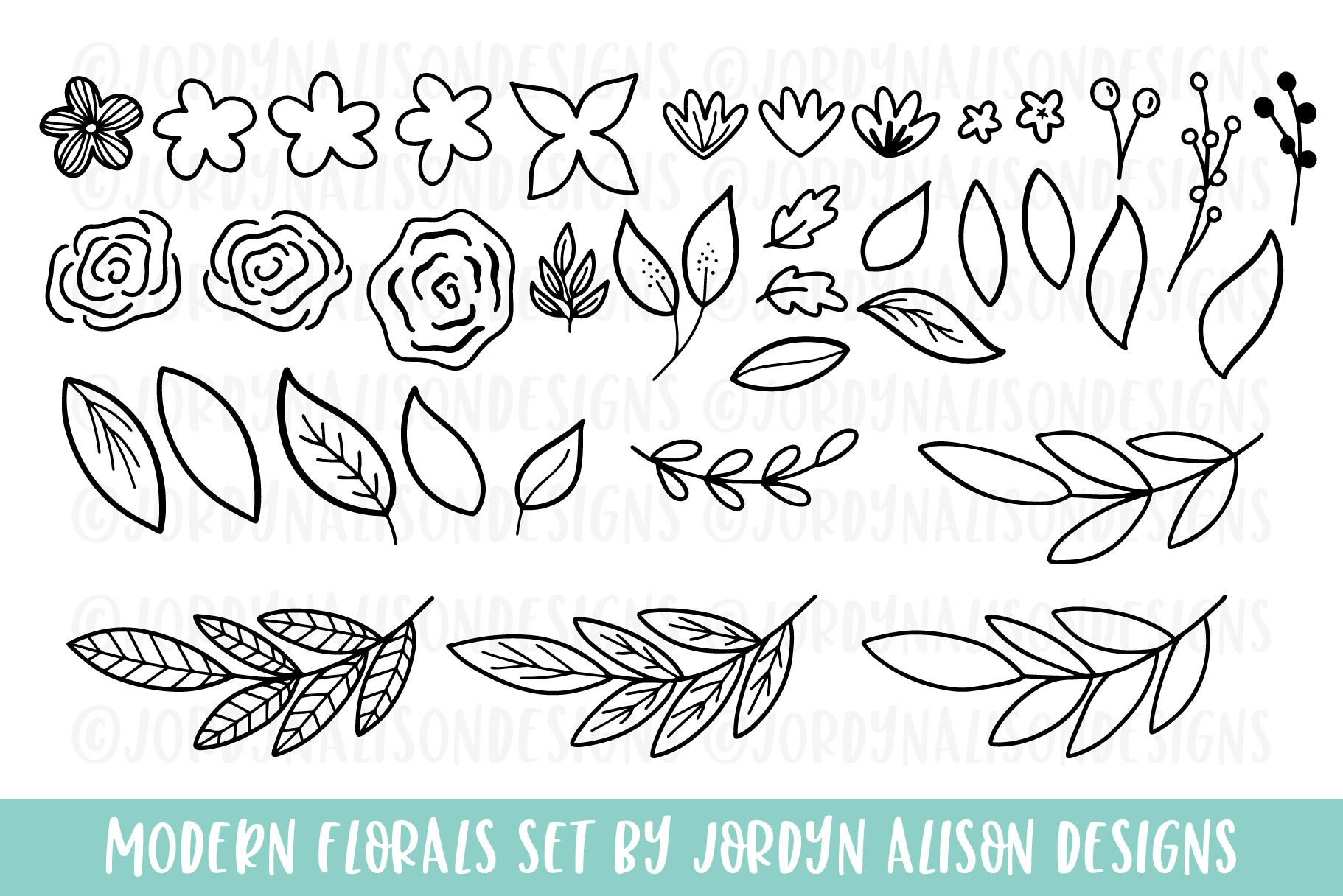 Modern Florals, Hand Drawn Elements & Illustrations example image 2