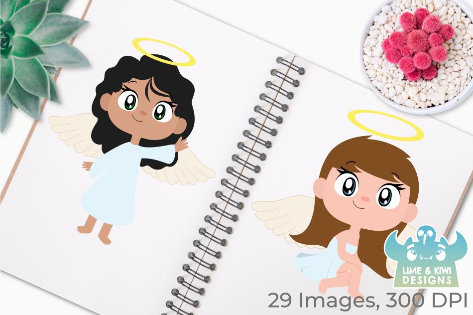 Angel Girls Clipart, Instant Download Vector Art example image 3