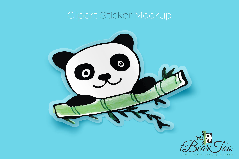Panda SVG Watercolor Clipart Bear Drawing Vector Cut File example image 5