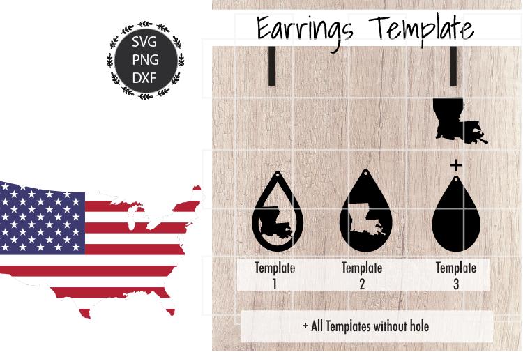 Earrings Template - Louisiana Teardrop Earrings Svg example image 2
