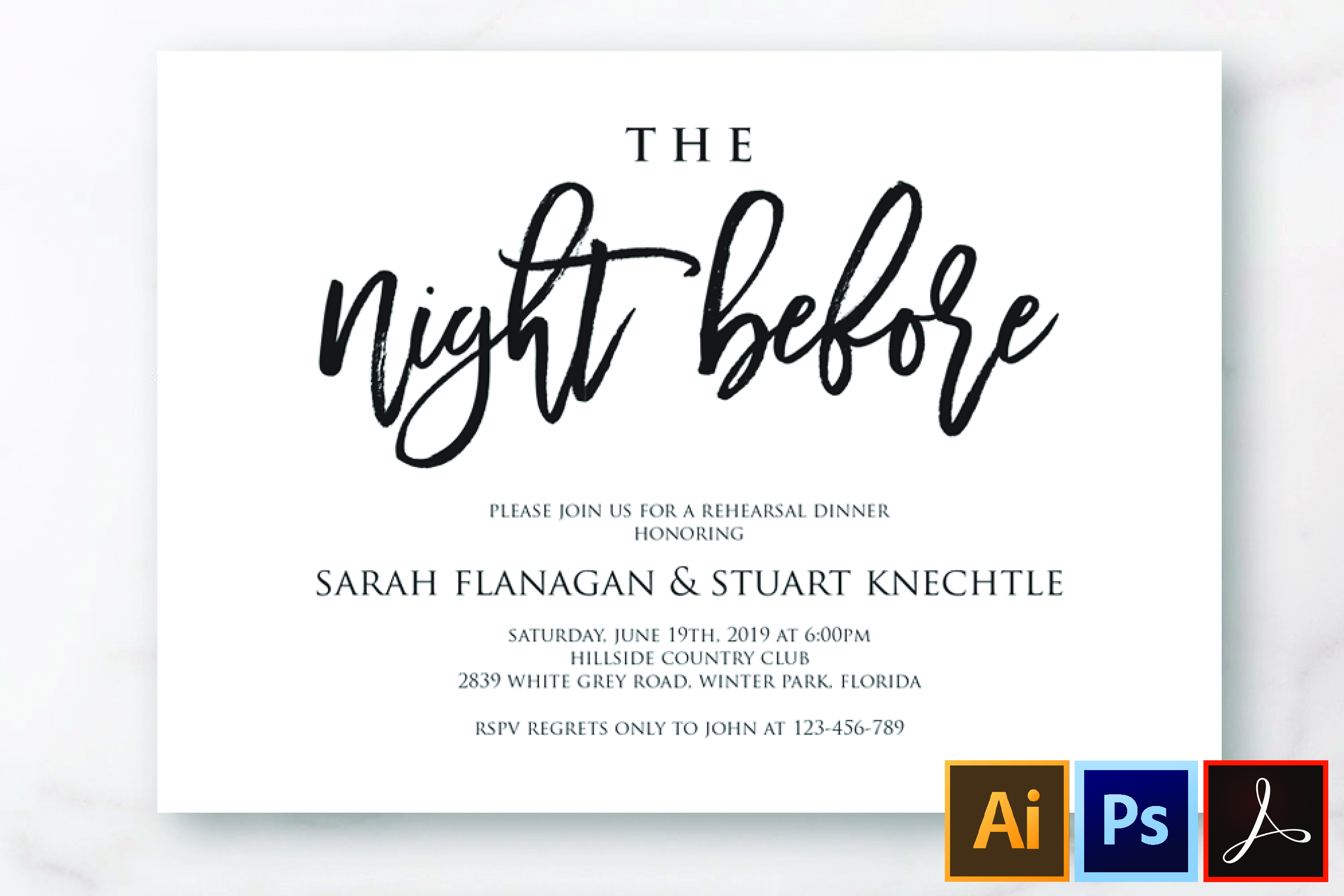 The Night Before Rehearsal Dinner Invitation Template Modern example image 1