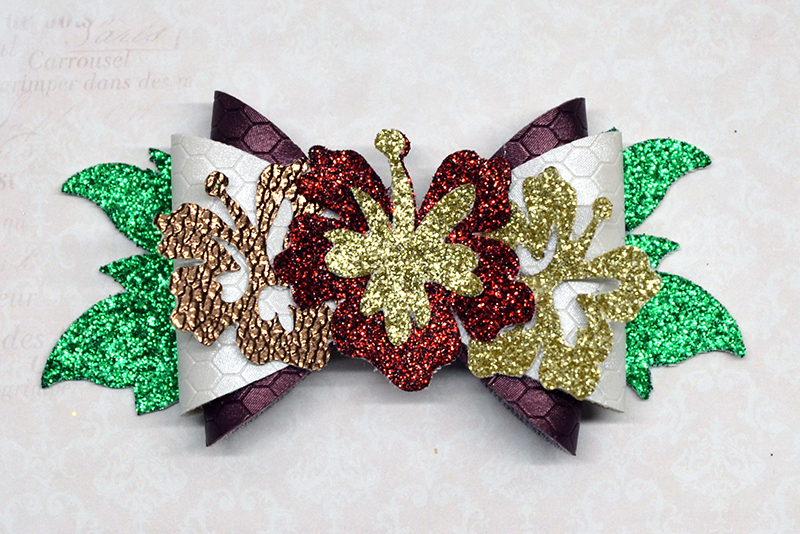 Wreath Hair bow template SVG, DIY leather bow template example image 1