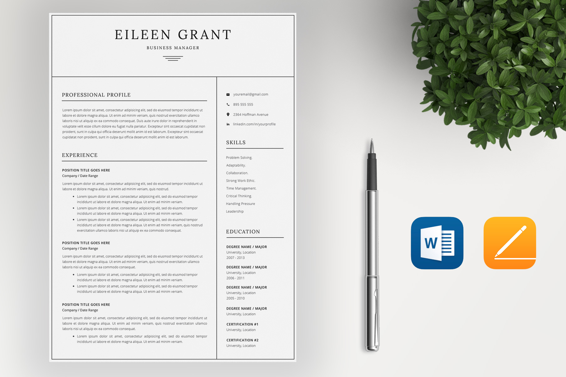 Resume Template and Cover Letter / 4 Pages example image 2