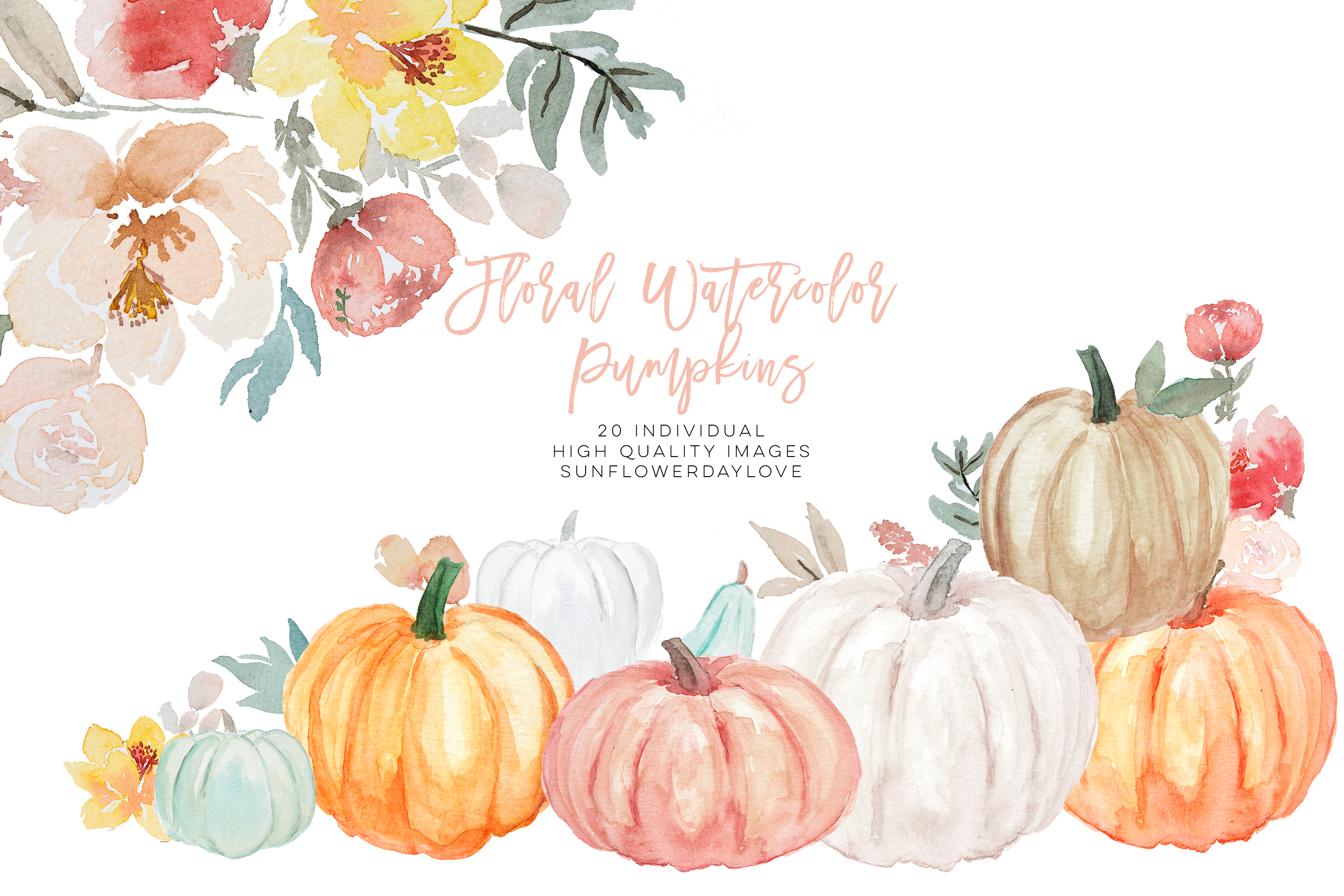 Pumpkin and Floral Watercolor fall clipart example image 2