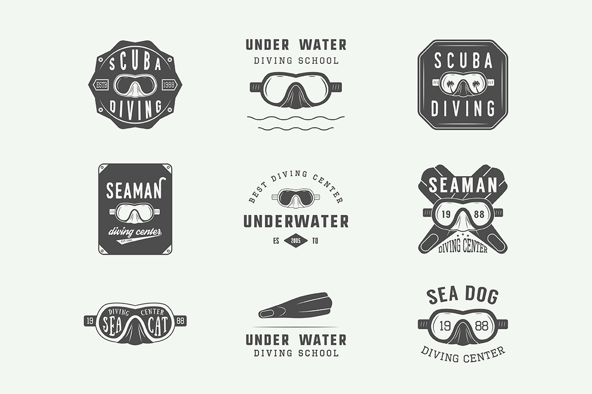 Set of vintage diving emblems example image 2