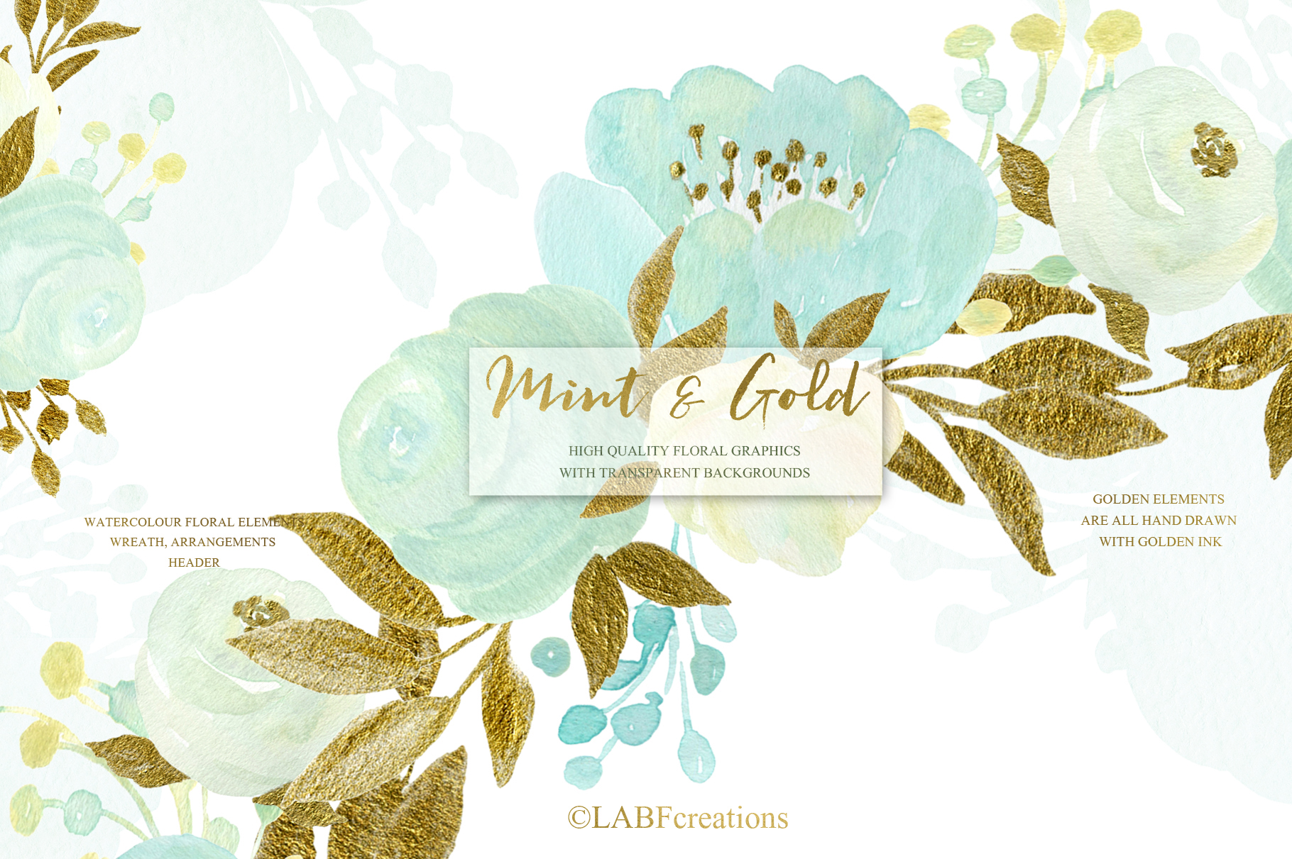 Mint and Gold. Watercolor floral clipart. example image 6