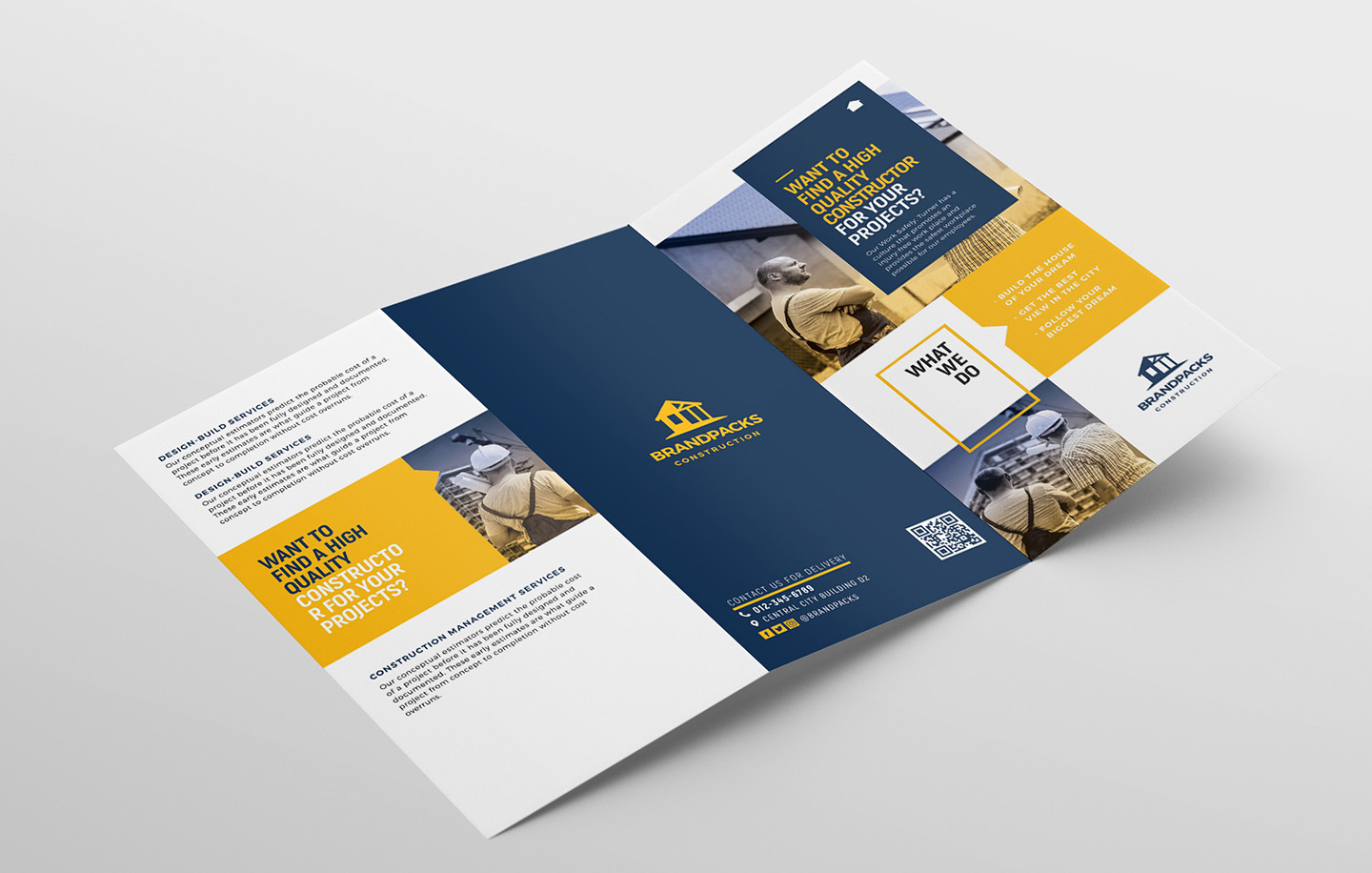 Construction Company Tri-Fold Brochure Template example image 4