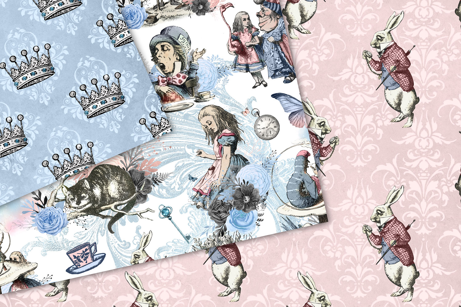 Alice In Wonderland Blue and Blush Digital Paper example image 3