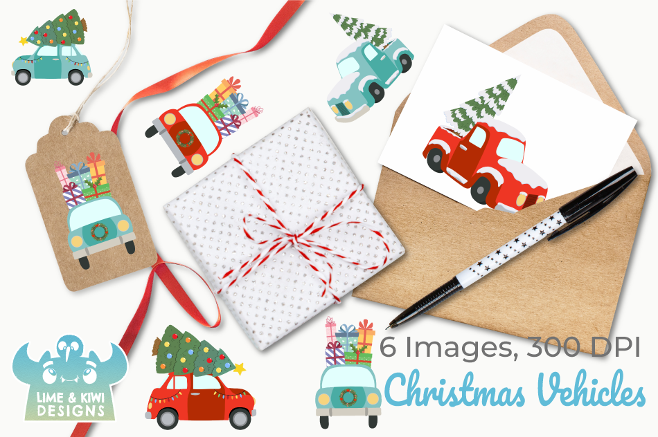 Christmas Vehicles Clipart, Instant Download Vector Art example image 4