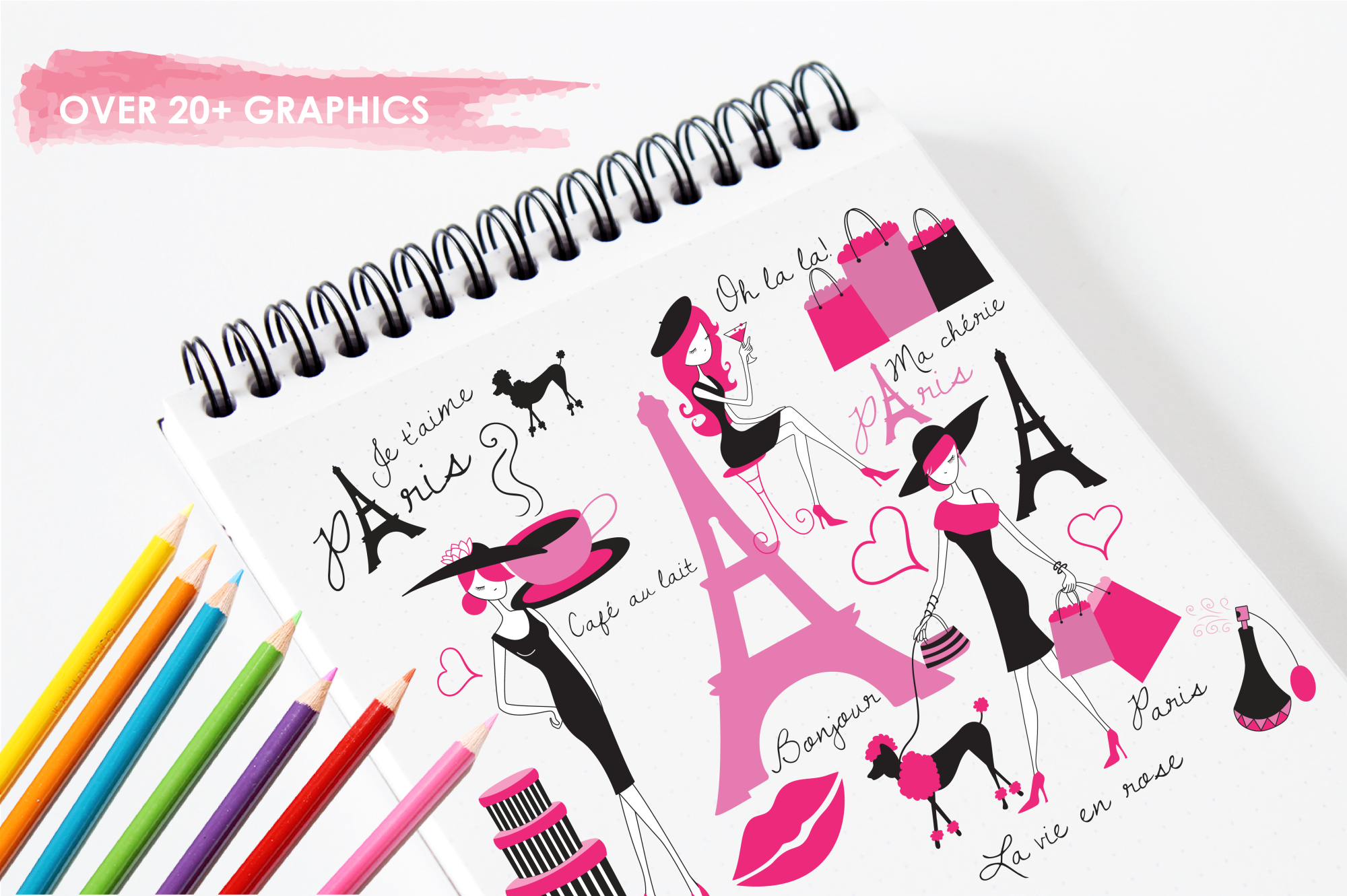 Paris Je T'Aime graphics and illustrations example image 3