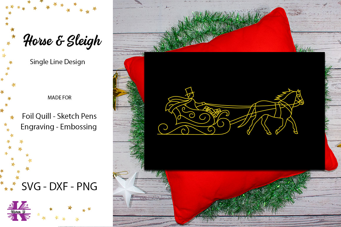 Horse & Sleigh for Foil Quill|Single Line Design example image 1