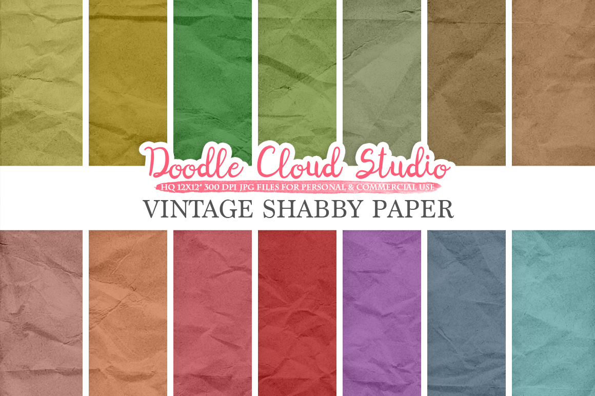 Vintage Shabby digital paper pack Grungy Old Folded paper texture Background Green Purple Red Brown Blue Instant Download for Commercial Use example image 1