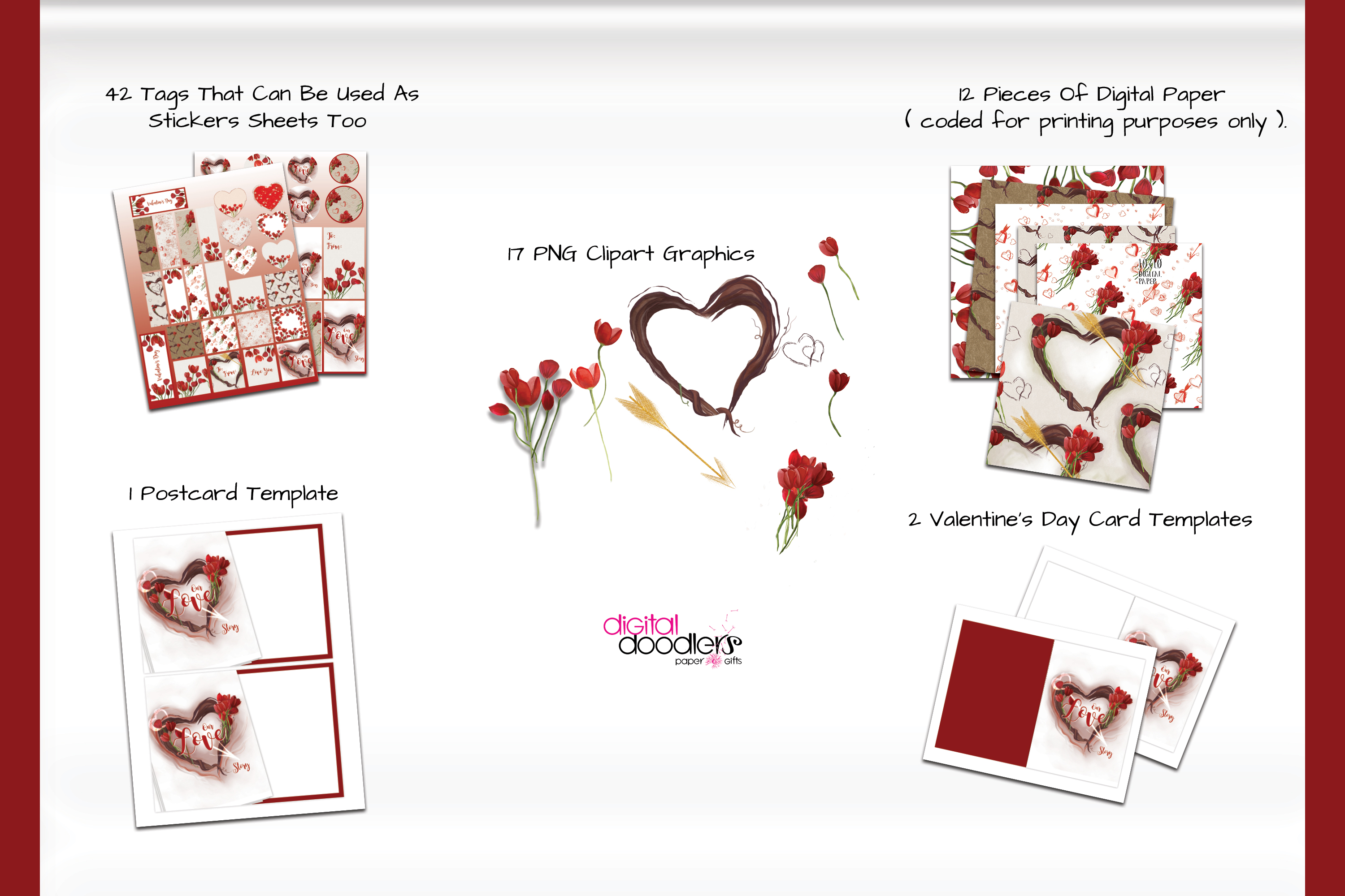 Hand Painted Hearts & Tulips Bundle example image 2