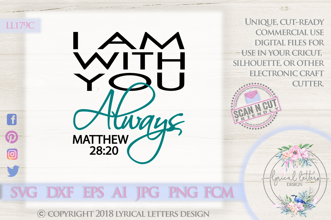 I Am With You Always Matthew 28 SVG DXF LL179A example image 1