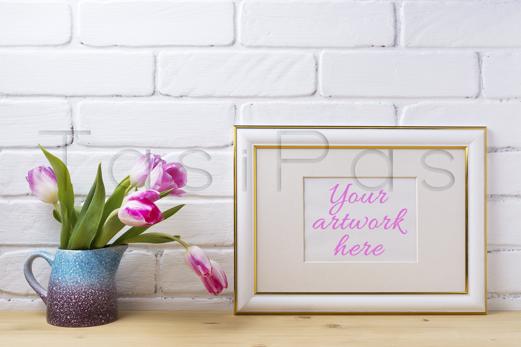 Gold decorated landscape frame mockup with magenta tulips example image 1