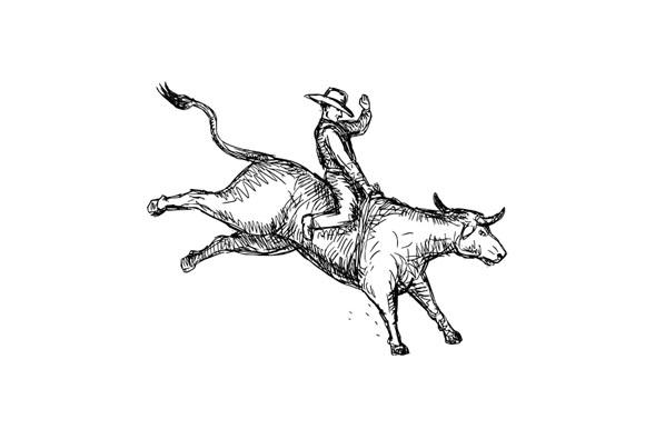Bull Riding Rodeo Cowboy Drawing example image 1