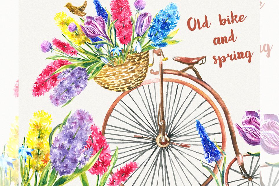Bike Clipart Garden Clipart Spring Flower Clipart