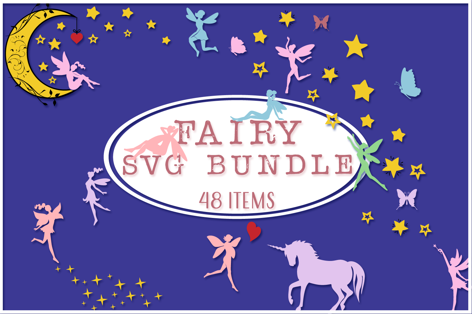 Fairy Silhouettes and Compositions SVG Cut Files Bundle example image 1