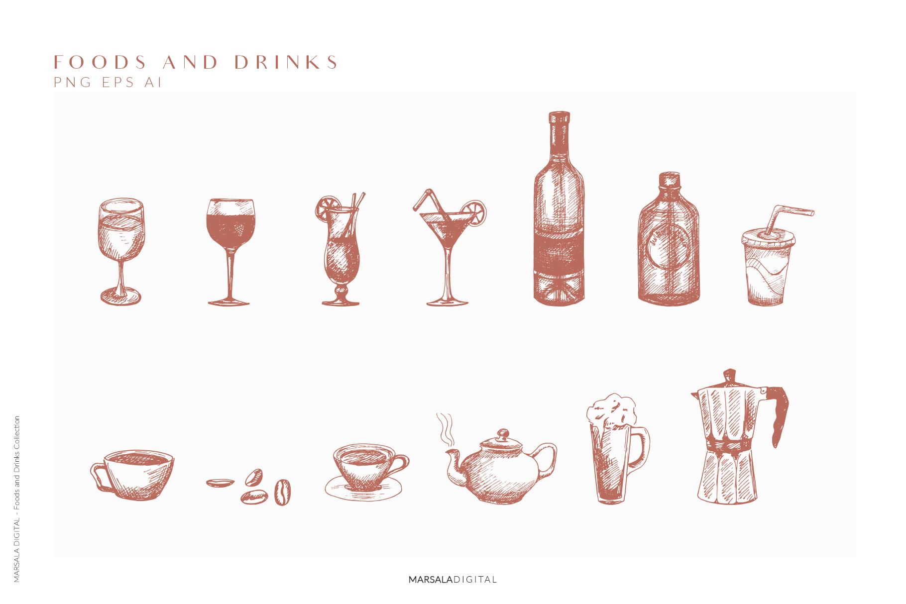 Foods & Drinks Logo Elements Handrawn Graphics example image 2