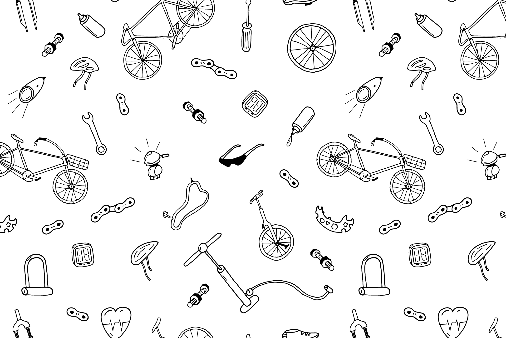 Bicycle collection in doodle style example image 5