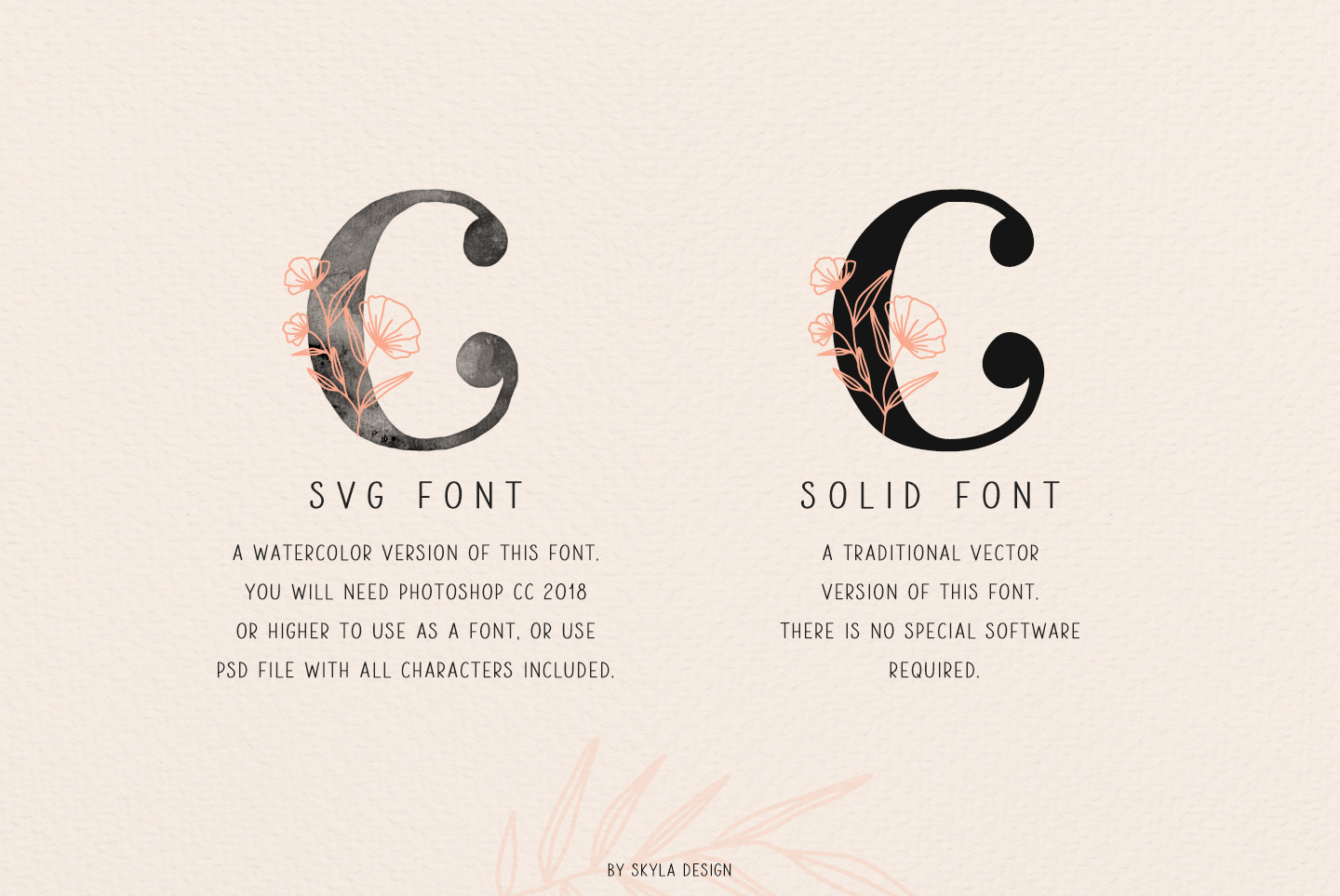 Ciera watercolor svg font family & floral logos clipart example image 10