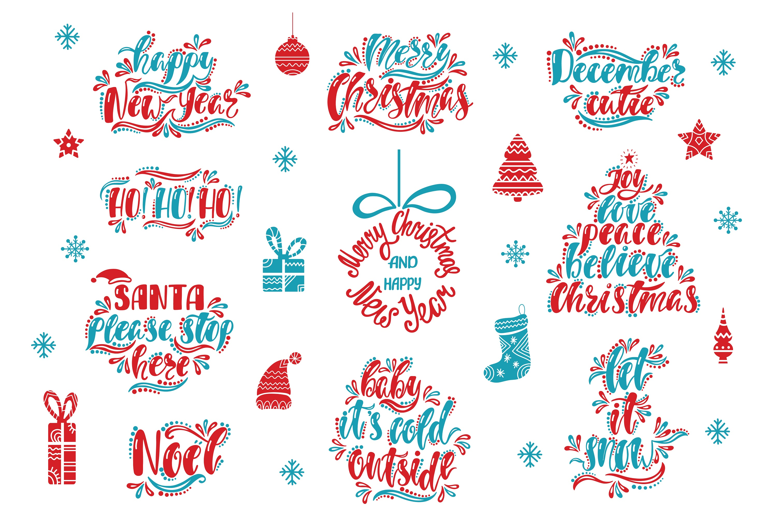 Christmas SVG Bundle. Holiday vector clipart. Cutting Files. example image 3