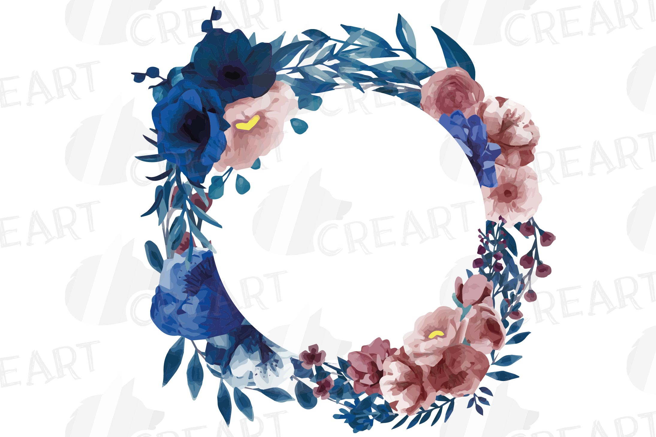 Watercolor elegant navy blue and blush floral borders vector example image 10