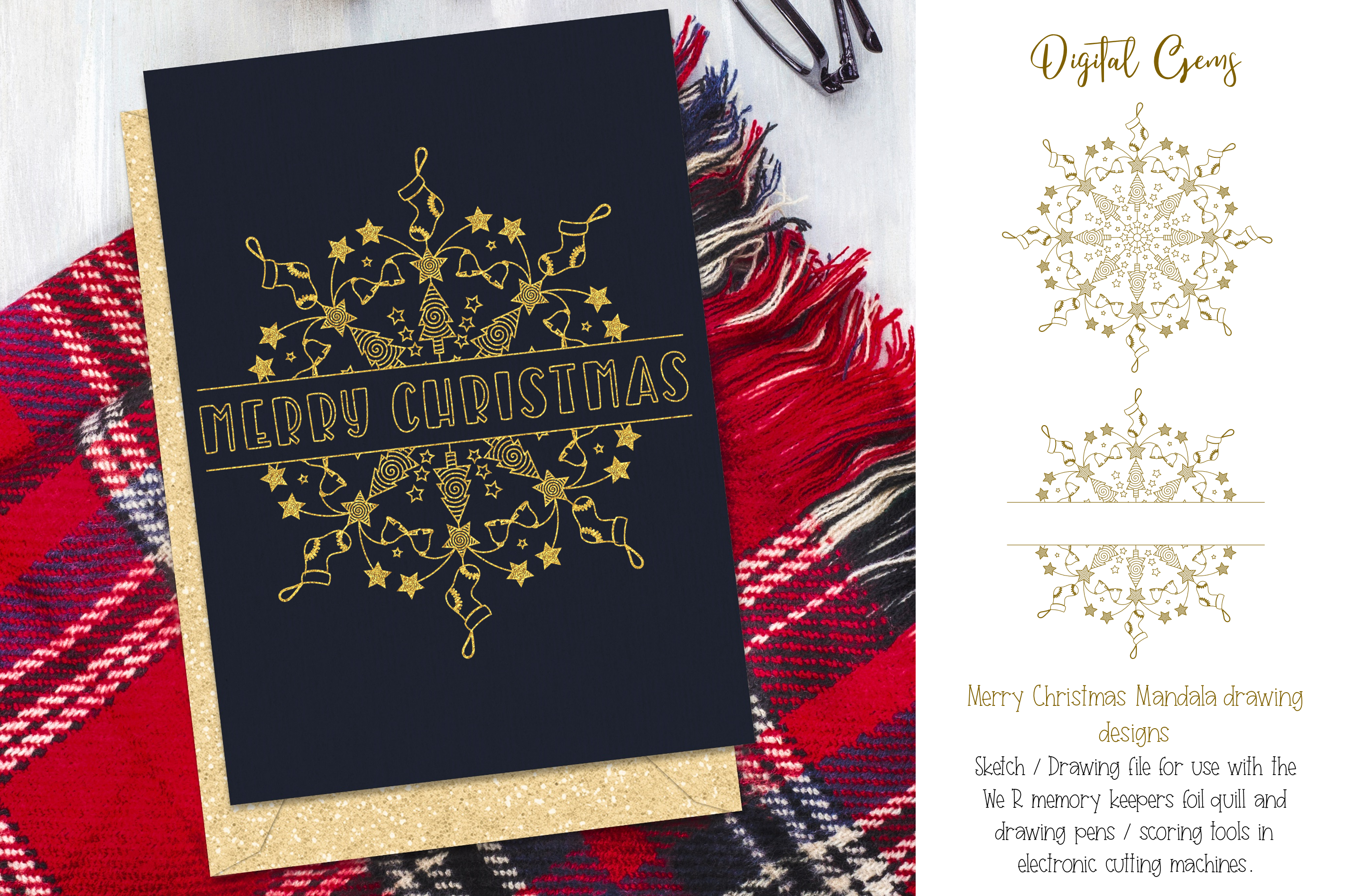 Christmas mandala, single line sketch file / foil quill file example image 1