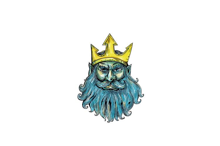 Neptune Trident Crown Head Woodcut example image 1