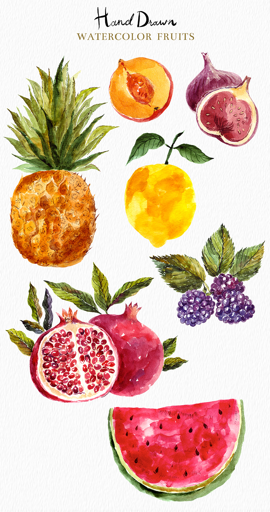 Watercolor vegetables & fruits example image 3