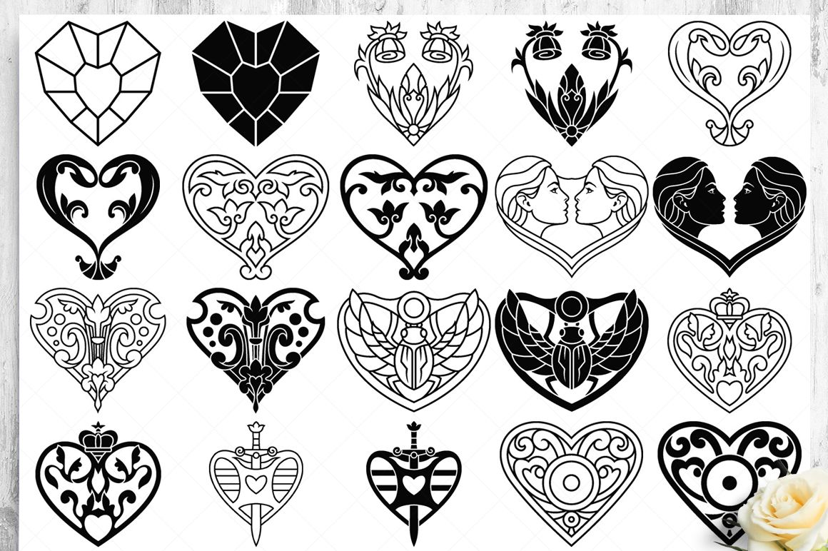 100 Heart Vector Ornaments and Seamless Patterns example image 14