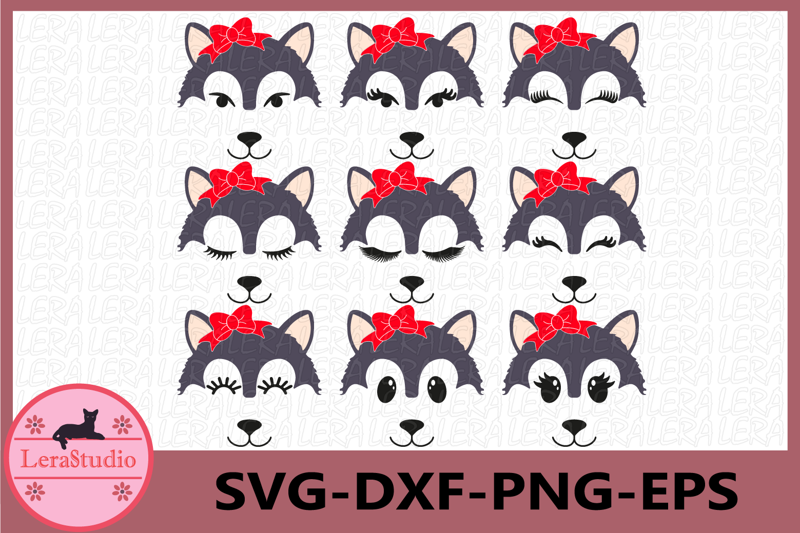 Wolf Eyelashes Face Svg, Wolf Face SVG, Animal face svg example image 1
