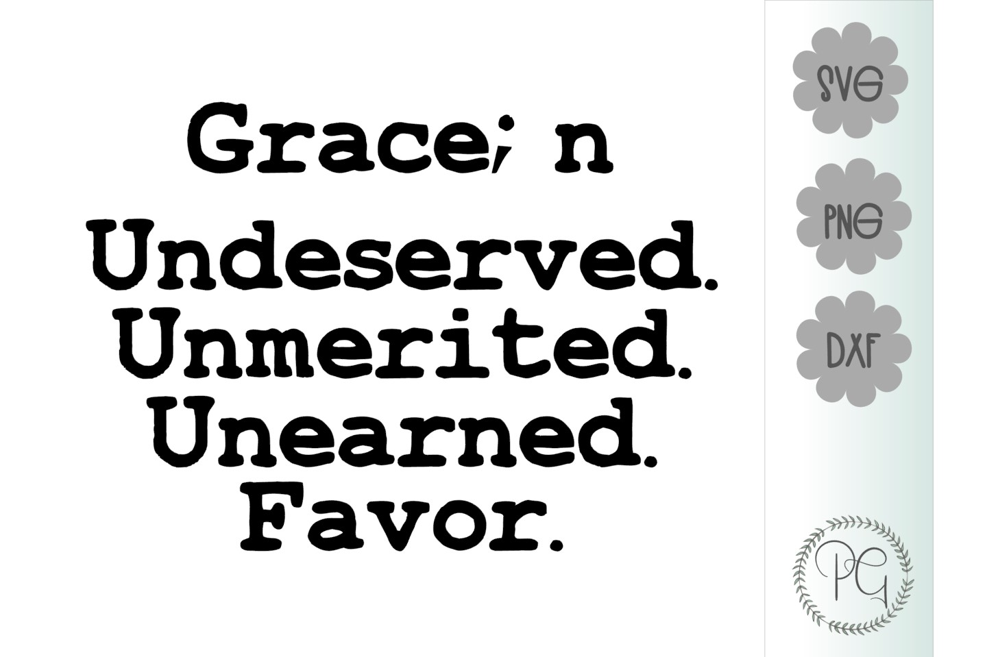 Grace SVG DXF PNG example image 2