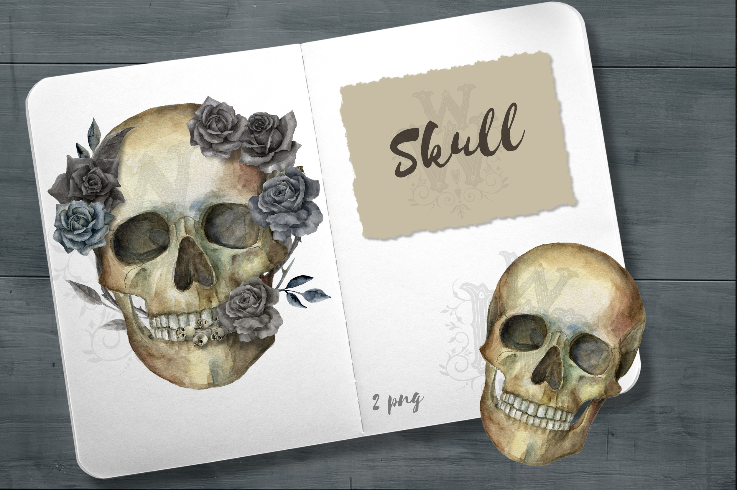 Watercolor skull, Halloween floral clipart example image 2